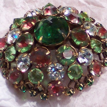 Schreiner Brooch with Watermelon Stones - Costume Jewelry