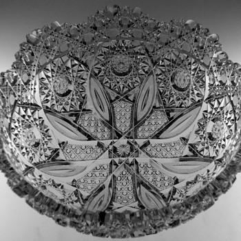 "Cut Glass Bowl, ""Propeller Pattern"",  By Parsche & Son - Glassware"