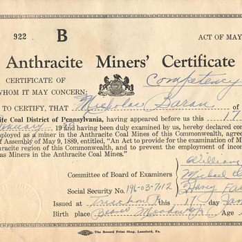 Nick Baran's Anthracite Mining Certificate - Paper