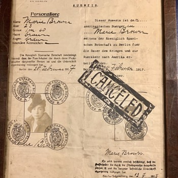 1917 Passport ... Berlin Germany, Spain, Denmark, Norway - Paper