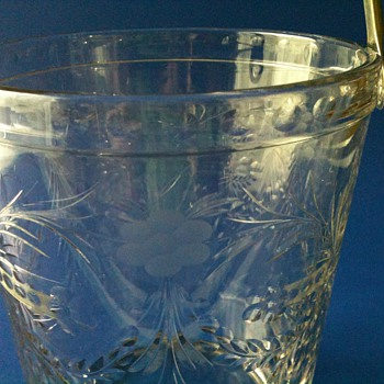 GLASS ETCHED WHEEL CUT ICE BUCKET FOSTORIA? - Glassware