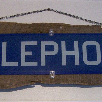 1950's Glass Telephone Booth sign - Signs