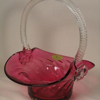 "Rossi Cranberry Basket - Clear Handle - With Label - 8 1/2"" - Art Glass"