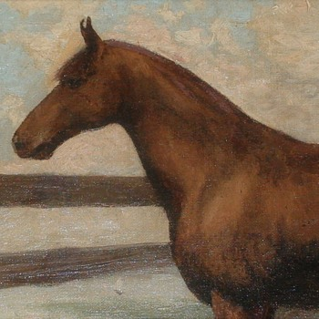 """Early Horse Oil On Canvas By Walter Francis Kuhn (1877-1949) Signed """"Walt 96"""" - Fine Art"""