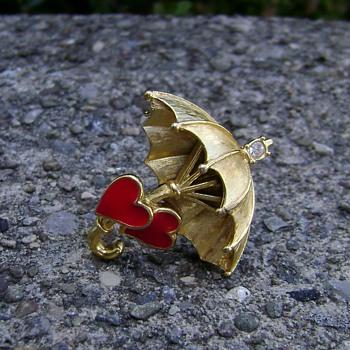 Trifari Two Hearts Umbrella Pin - Costume Jewelry