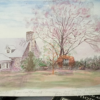 Water color van Cortlandt mansion by the same western artist - Fine Art