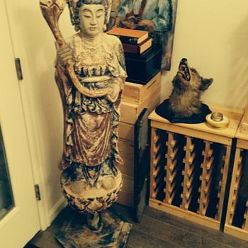 Buddha or Kwan Yin wooden 5 foot statue?