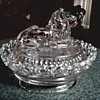 Imperial Glass Co. / Lion Cover with Lace Edge Dish / Circa 1950's