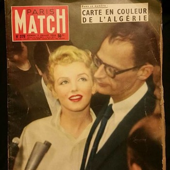 July 1956 Paris Match Magazine Marilyn Monroe Arthur Miller - Paper
