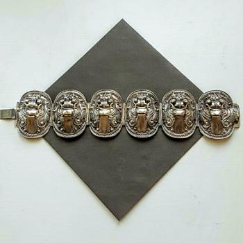 Vintage Balinese silver panels bracelet. - Asian