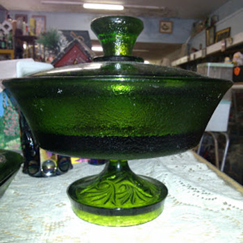 "Emerald Green ""Heavy"" Footed/Pedestal Compote - Glassware"
