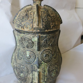 Old Chinese bronze tomb jar  - Asian
