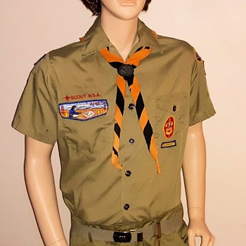 Saturday Evening Scout Post Boy Scout Uniform Shirt with Original Patches Circa 1980 - Medals Pins and Badges