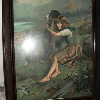 "Vintage framed print of Girl and Dog 19"" X 23"""
