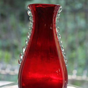 Whitefriars Ruby Flanged Vase  - Art Glass