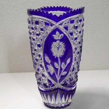"Bohemian - Cobalt Blue - Cut To Clear 8"" Vase - Art Glass"