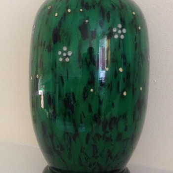 Welz oxblood and green enamelled bit of chintz - Art Glass
