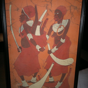 Omauri Warrior  African Dyed fabric   painting - Rugs and Textiles