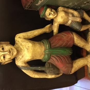 Statue mans and boy in wood - Folk Art