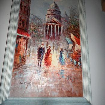 European Street Scene Oil on Canvas - Fine Art
