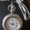 Victorian silver pocket watch and sterling silver chain