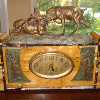 Art Deco/Nouveau marble clock with Signed Thomas Francois Cartier Buck Sculpture 1910 -17