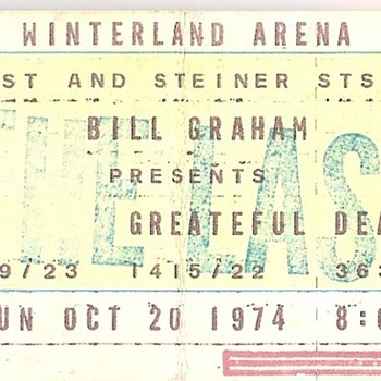 Grateful Dead Winterland ticket, 10/20/74 - Music Memorabilia
