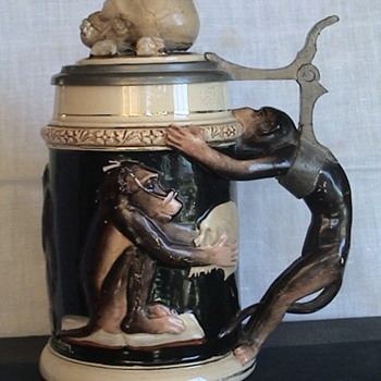 "German ""Darwin"" Chimp Stein With Skull On Lid - Breweriana"