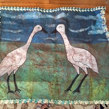Vintage Animal Skin Canvas Bird Painting (Cranes?) Help! - Fine Art