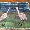 Vintage Animal Skin Canvas Bird Painting (Cranes?) Help!