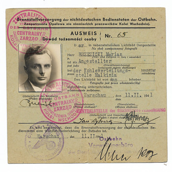 Holocaust 1941 Ausweis issued to the coal supplier near Treblinka camp - Paper