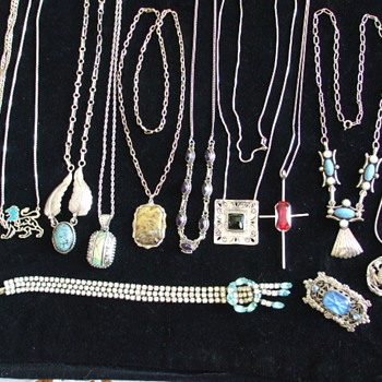 Mostly Silver 925 and Sterling Chains/Pendants with a few Brooches to Boot - Silver