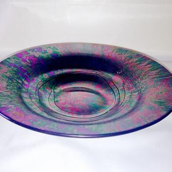 Vintage Purple Green Threaded Iridescent Plate Bowl Help  - Art Glass