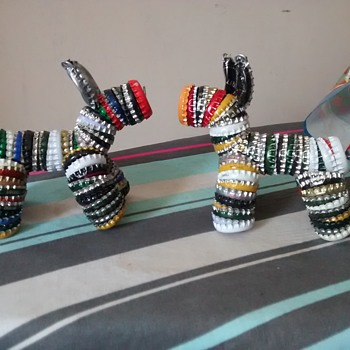Upcycled, recycled, repurposed collectables of the future dog Figures made from Beer and pop bottle metal tops - Folk Art