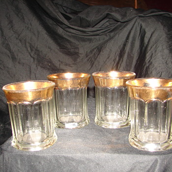 eapg unknown maker tumbler set w/ gold rim - Glassware