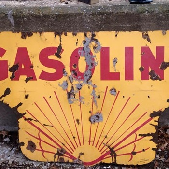 1920's Shell sign Gasoline half. - Petroliana