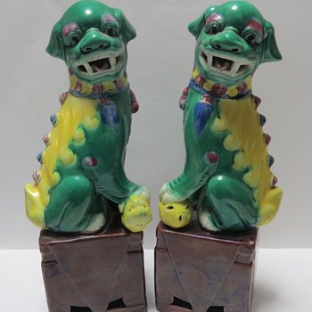 Chinese Yellow and Green Lion Foo Dogs - Asian