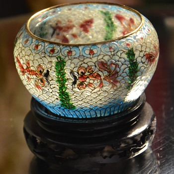 Tiny Plique a Jour Bowl on Stand from Beijing - Asian