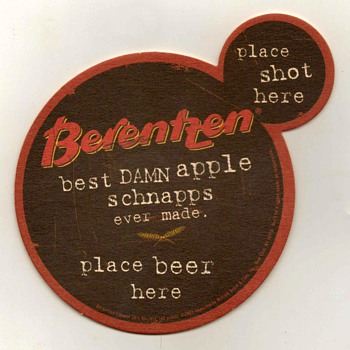 """Berentzen Apple Schnapps"" - Bar Coaster - Breweriana"