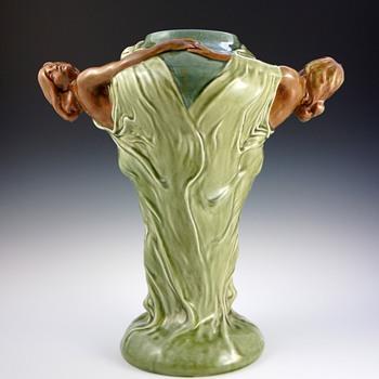 Large Circa 1900 Art Nouveau Double Maiden Ceramic Vase