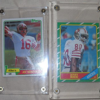 Joe Montana and Jerry Rice Rookie cards, Frank Gifford and Tony Dorsett