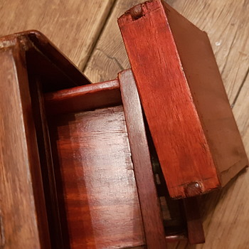 Wooden box (tea caddy) hidden drawers x 3 box. Dovetail joints  12 x 10 x 11 cm joints.  - Kitchen