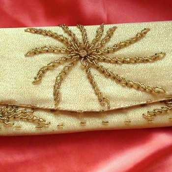 LE SOIR BAG GOLD BEADED LOOKS LIKE 1950's It is French?? or What Country Is it?? - Bags