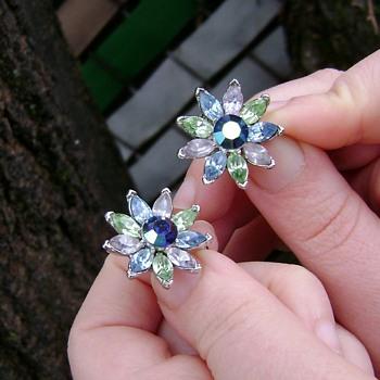 Trifari Flower Earrings - Costume Jewelry