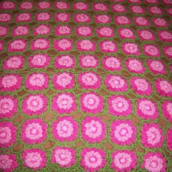 1 of 3 - Afghan - Rose Red Afghan - Vintage - Rugs and Textiles