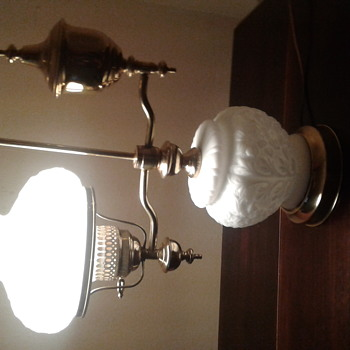 Brass Kerosene Student Desk Lamp with Milk Glass Shades.   - Lamps