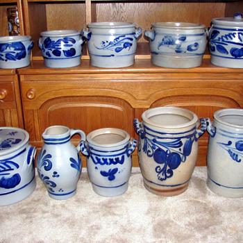 German, Salt Glazed Pottery Stoneware Crocks - Pottery