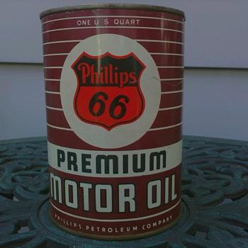 "Phillips ""66"" Premium Motor Oil Can - Petroliana"