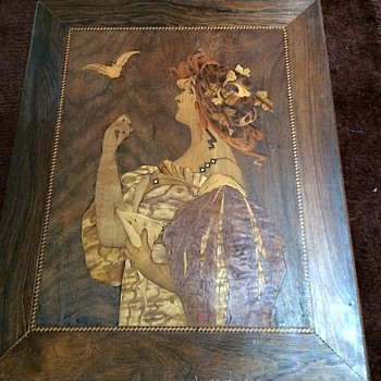 Art Nouveau Marquetry Plaque