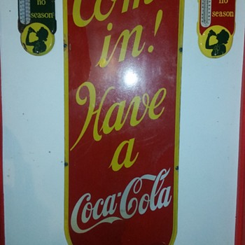 1939 Lg Coca-Cola Porcelain Sign - Coca-Cola